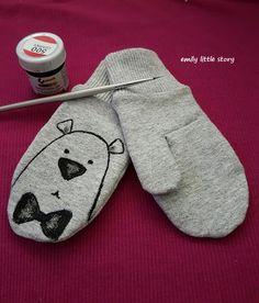 Emily little story: Rękawiczki - kurs szycia bez wykroju Mittens, Cool Outfits, Gloves, Slippers, Sewing, Kids, Baby, Accessories, Projects