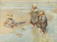 Blommers B.J., Bootje varen, krijt en aquarel op papier 40,2 x 55,6 cm.
