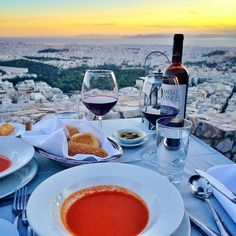 Dinner with a view. Instagram's juju.lovee transports us to Greece for a fabulous meal.