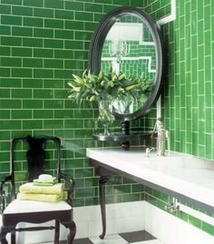 vibrant green subway tile bathroom - color of the month for march gorgeous green home decor and design ideas Brick Bathroom, Bathroom Tile Designs, Bathroom Trends, Bathroom Colors, Bathroom Interior, Bathroom Green, Men's Bathroom, 1920s Bathroom, Bath Tiles