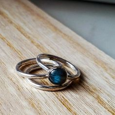 Labradorite ring / stacking ring set / by MaxwellHarrison on Etsy