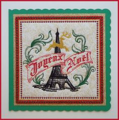 Joyeux Noel, machine embroidered, handmade Christmas fabric art card, greeting card, Paris, Eiffel Tower, gold glittered fabric, 8in x8in. by CushionRock on Etsy