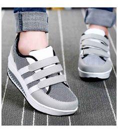 7f3e292002c04e Women s  grey leather velcro  rocker bottom sole shoe sneakers