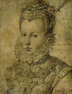 Jan Kraeck or Giovanni Caracca (ca. 1550-1607), Portrait of Infanta Catalina of Spain, Duchess of Savoie. Black chalk and pencil. Marty de Cambiaire at the Salon du dessin 2015, 25 - 30 March.