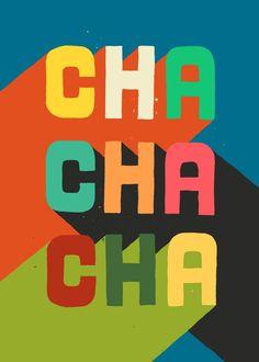 Typography Cha cha cha Art Print by Picomodi Flat Design Poster, Graphic Design Posters, Graphic Design Typography, Japanese Typography, Graphic Art Prints, Vintage Graphic Design, Poster Designs, Design Plat, Web Design