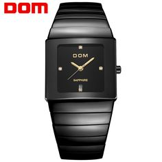 199.80$  Buy here - http://alidij.worldwells.pw/go.php?t=32774700568 - DOM Menmens watches top brand luxury waterproof quartz ceramic watch sapphire crystal Business Square watches T-730