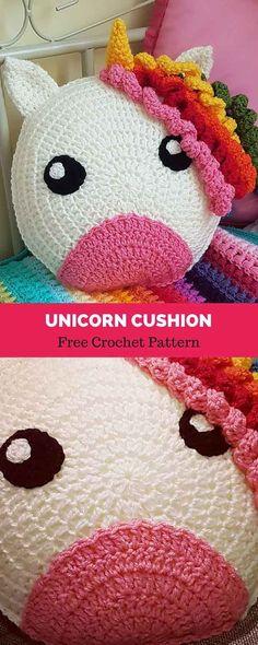 Free Unicorn Cushion crochet pattern
