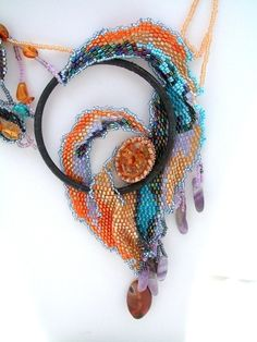 Bead Jewelry Necklace The One Ring by NewWorldElegance on Etsy, #beadwork #freeform