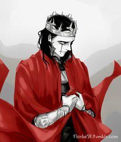 "Tom Hiddleston ""Loki"" Fan art from http://florbe91.tumblr.com/post/75225697426/i-was-a-king-plus-thors-cape-happy-loki"