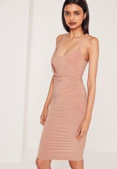 Slinky Strappy Wrap Midi Dress Nude