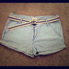 Forever 21 Shorts Vertical blue and white stripes pattern that gives a nautical look. Comes with a contrasting horizontal striped belt. Forever 21 Other