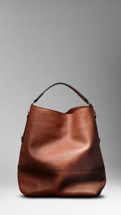 BURBERRY Washed Leather Duffle Bag