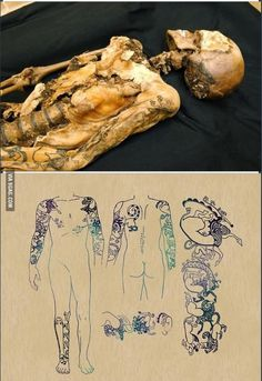 A 2500 year old mummy that had some amazing tattoos.
