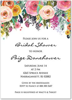 Watercolor Floral Bouquet Script Invitations - Stationery Invite