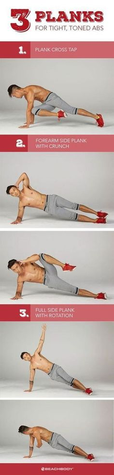 Plank exercises benefits are many. The plank is one of the best overall core conditioners around, and unlike crunches, it keeps your spine protected in a neutral position. Here are 3 ab workouts to strengthen core and lose excess belly fat. Beachbody workouts // Plank exercises // How to get toned abs // how to get a great core // easy core workouts // plank workouts // Beachbody // Beachbody Blog
