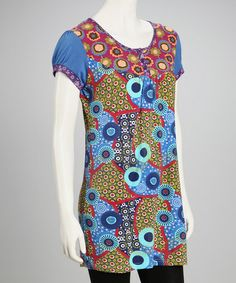 Take a look at this Royal Blue Flowers & Dots Tunic by Zashi on #zulily today! Most of these disasters are by  Michael K. This tunic proves he is not alone.  I'm not sure I could kep a straight face if I saw some wearing 90% of these zulily collection of garments on sale