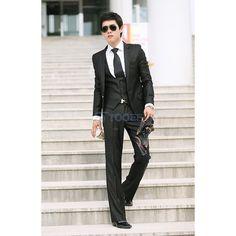 Black High Quality Business Casual Men's Suit Pant - Suit Pants -... via Polyvore