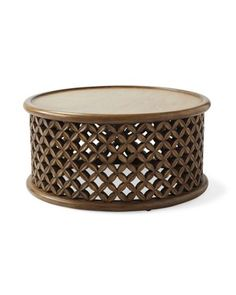 A modern spin on a traditional African design. The handcrafted basketweave pattern pays homage to th Black And White Interior, White Interior Design, Nordic Interior, Black White, Interior Paint, Outdoor Side Table, Outdoor Coffee Tables, Side Tables, Unique Coffee Table