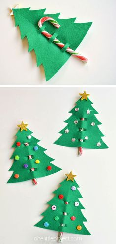 Use our printable template to make an easy Christmas tree favor using felt and candy canes! These Christmas tree favors are such a fun Christmas craft and a great craft for kids of all ages. Give them to your friends, family or teachers. Paper Crafts For Kids, Christmas Crafts For Kids, Christmas Activities, Simple Christmas, Projects For Kids, Christmas Diy, Christmas Ornaments, Candy Cane Christmas Tree, Christmas Tree Decorations