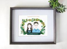 Custom Couple Portraits Wedding Gift Anniversary by mintybasil, $85.00