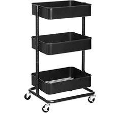 alvorog 3-Tier Rolling Cart, Storage Trolley on Wheels, ABS Storage Organiser Mesh Basket Shelf with Ergonomic Handles for Bathroom, Kitchen, Office, Library (black): Amazon.co.uk: Kitchen & Home