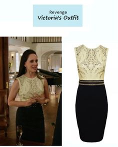 "On the blog: Victoria Grayson's (Madeleine Stowe) leather top fitted dress | Revenge - ""Dissolution"" (Ep. 306) #tvstyle #tvfashion #outfits #fashion"