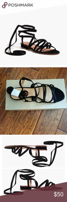 <Madewell> Holly Suede Lace Up Sandal A sexy-meets-casual suede sandal with a barely there heel and looooong ankle straps (so you can tie them to the front or to the back). We love these with cropped wide-legs or midi skirts. Madewell Shoes Sandals