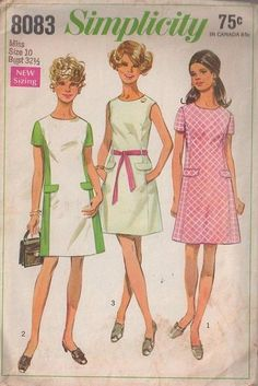MOMSPatterns Vintage Sewing Patterns - Simplicity 8083 Vintage 60's Sewing Pattern FAB Mod Color Block Contrast Front Panel Princess Seams Day Dress, Flap Trim, Tie Belt Size 10