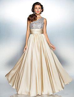 Cheap Sheath/Column One Shoulder Floor-length Satin Chiffon Evening/Prom Dress Free Measurement