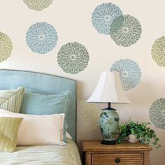 This Summer Blossom flower stencil makes a stunning accent wall, table top design, floral pattern, and so much more! Floral designs are all the rage this season, and our stencils are prefect for your next DIY home decor project! By Cutting Edge Stencils Wall Stencil Designs, Stencil Wall Art, Wall Stencil Patterns, Wallpaper Stencil, Leaf Stencil, Flower Stencils, Tile Stencils, Large Stencils, Asian Paints Wall Designs