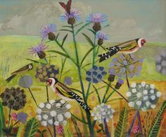 -Goldfinches- acrylic 25x30cms SOLD - Mary Sumner