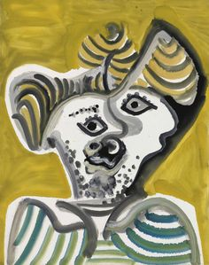 Pablo Picasso (Málaga Mougin) Tête d'homme (Man's head) Oil on canvas 92 x 73 cm Inscribed verso upper left in red III' 1972 To be exhibited at by Galerie Bastian Pablo Picasso Artwork, Picasso Portraits, Picasso Paintings, Picasso Images, Cubist Movement, Classical Realism, Art Market, Textures Patterns, Illustration Art