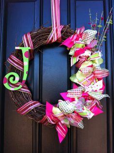 summer wreath | Summer Wreath with Monogram in Pink and Green - Summer Wreath - Spring ...