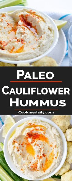 CAULIFLOWER HUMMUS PALEO... #Cauliflower #Hummus #Paleo Paleo Chicken Recipes, Best Gluten Free Recipes, Raw Food Recipes, Low Carb Recipes, Banting Recipes, Drink Recipes, Coleslaw Sandwich, Vegan Coleslaw, Coleslaw Salad
