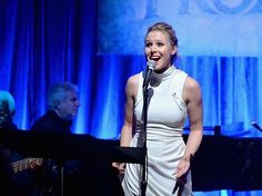 Kristen Bell sings along with the cast of FROZEN to celebrate the Oscar-nominated soundtrack at Vibrato Jazz Club