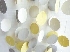Yellow Gray & White Circle Garland Wedding by FabulouslyHomemade, $7.50