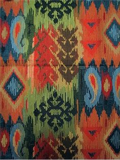 """Mesa Sunset - Southwest transitional ikat jacquard fabric for furniture upholstery, pillow covers, or top of the bed. Content; 100% poly. Railroad Repeat; H 14.8"""" x V 27.6"""". 54"""" wide"""