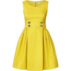 Orla Kiely Double Faced Cotton Sleeveless Dress (725 BRL) ❤ liked on Polyvore featuring dresses, vestidos, short dresses, yellow, sunshine, button dress, yellow cotton dress, sailor dress and cotton day dresses