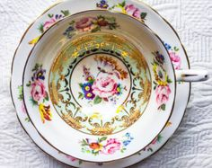 RESERVED FOR JOSEPHUS-Glorious Grosvenor Floral Gold Scroll 1940's Teacup and Saucer - Edit Listing - Etsy