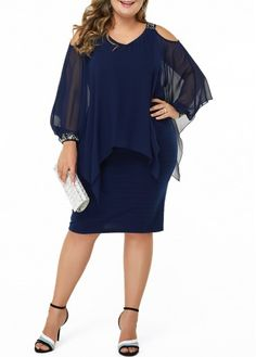 Plus Size Navy Blue Cold Shoulder Chiffon Overlay Dress Plus Size Cold Shoulder Sequin Embellished Dress New Designer Dresses, Plus Size Cocktail Dresses, Spandex Dress, Patchwork Dress, Dresses For Sale, Dresses Online, Plus Size Dresses To Wear To A Wedding, Trendy Plus Size Dresses, Types Of Dresses