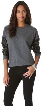 DKNY+Leather+Sleeve+Pullover+on+shopstyle.com