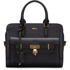 Alexander Mcqueen Black Leather Small Padlock Bag (167795 DZD) ❤ liked on Polyvore featuring bags, handbags, shoulder bags, leather duffel bag, leather shoulder handbags, black duffel bag, black purse and skull purse