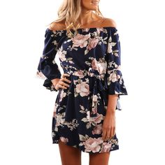 2017 Women Sexy Off Shoulder Dress Vintage Long Sleeve Print High Waist  Mini Dresses Vestidos Dress de festa 239e76168