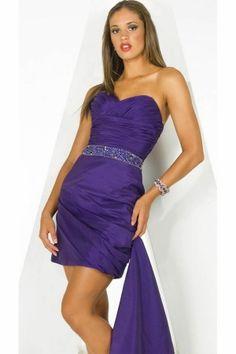 Purple Strapless Short/Mini Crystal Tight Prom Dress PD1349