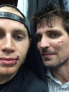 Patrick's Sharp and Kane after getting stitches. This can only mean 1 thing... Hockey season is back!