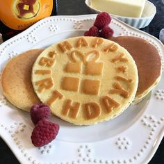 Special Birthday Pancakes like you've never seen! Buy the mold to make this pancake at: https://www.pancakepresents.com/product/happy-birthday-silicone-pro-pancake-mold/