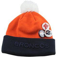4a4917c62ea Denver Broncos Button Up Cuffed Knit Beanie Db Football