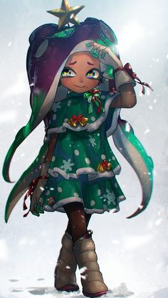 It's marina from splatoon I'm absolutely obsessed with her design in the game, I just can't get enough of it! Marina Splatoon, Splatoon 2 Art, Julie Andrews, Squid Games, Overwatch, Pearl And Marina, Callie And Marie, Nintendo, Chibi