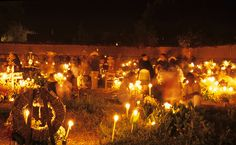 On the night of November 2 Purepecha families gather in this cemetary near Lake Patzcuaro in Michoacan to bid farewell to their deceased family members until next year