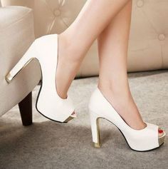Best New Fashion Elegant Style Metal Decorated Color Block Platform Peep-toe Chunky Heels